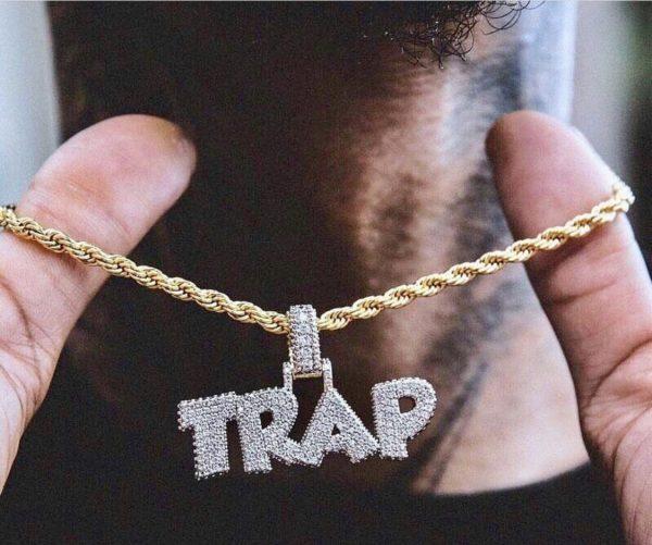 گردنبند تمام نگین طرح ترپ trap